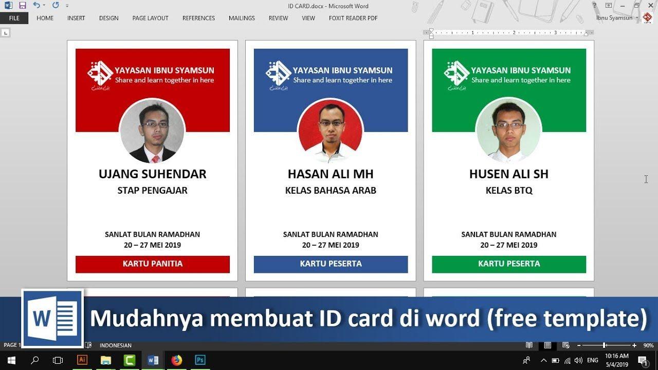 Cara membuat ID card dengan word (free template