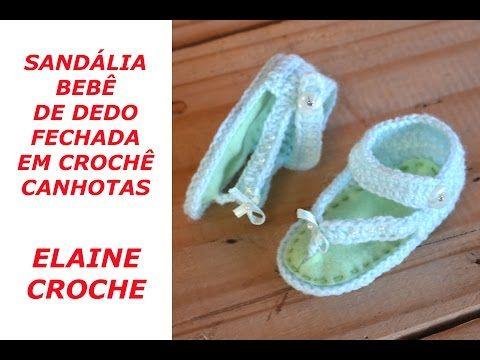 SANDÁLIA BEBÊ DE DEDO FECHADA EM CROCHÊ CANHOTAS - YouTube  d465ccba123