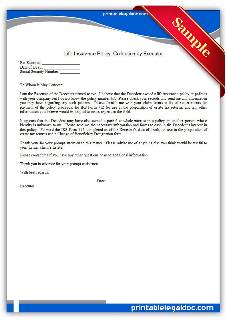 Free Printable Life Insurance Policy Collection By Executor Legal Forms Life Insurance Policy Legal Forms Lettering
