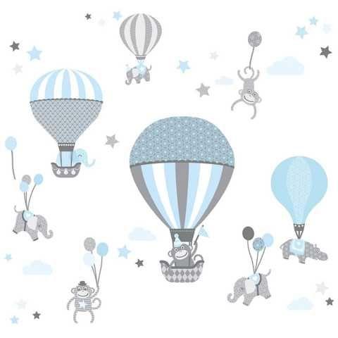 Baby Wandtattoo Tiere mit Luftballons für Kinderzimmer