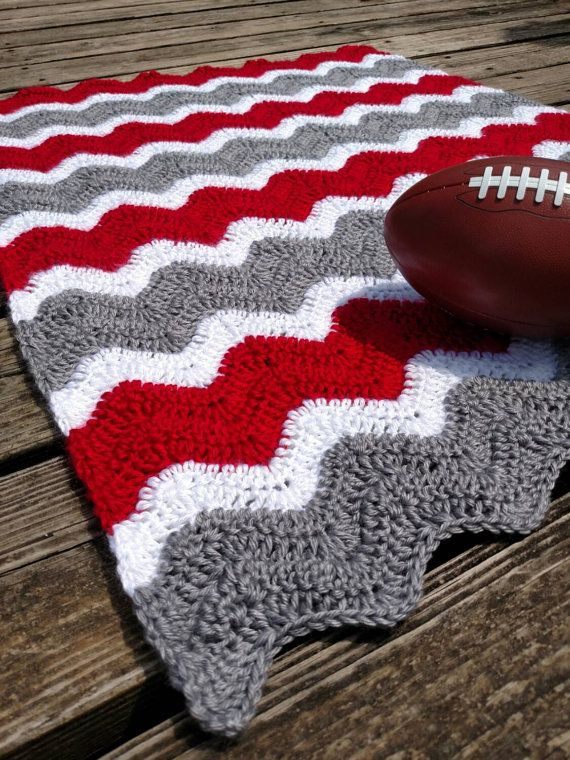 Ohio State Crochet Chevron Baby Blanket - Scarlet and Grey Ripple ...