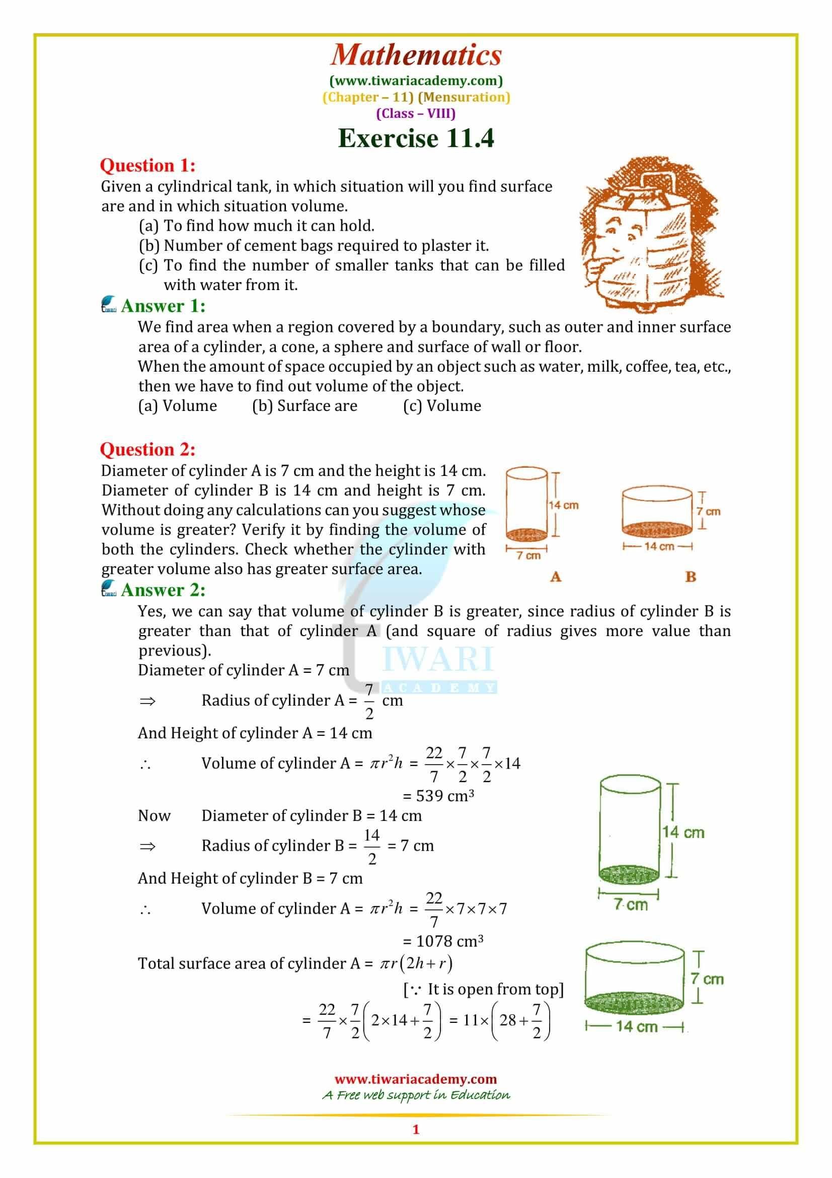 Cbse Ncert Solutions For Class 8 Maths Chapter 11 Mensuration Math Math Worksheet Class 8 [ 2339 x 1653 Pixel ]