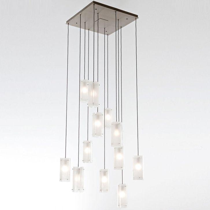 Textured glass square multi light pendant by hammerton studio
