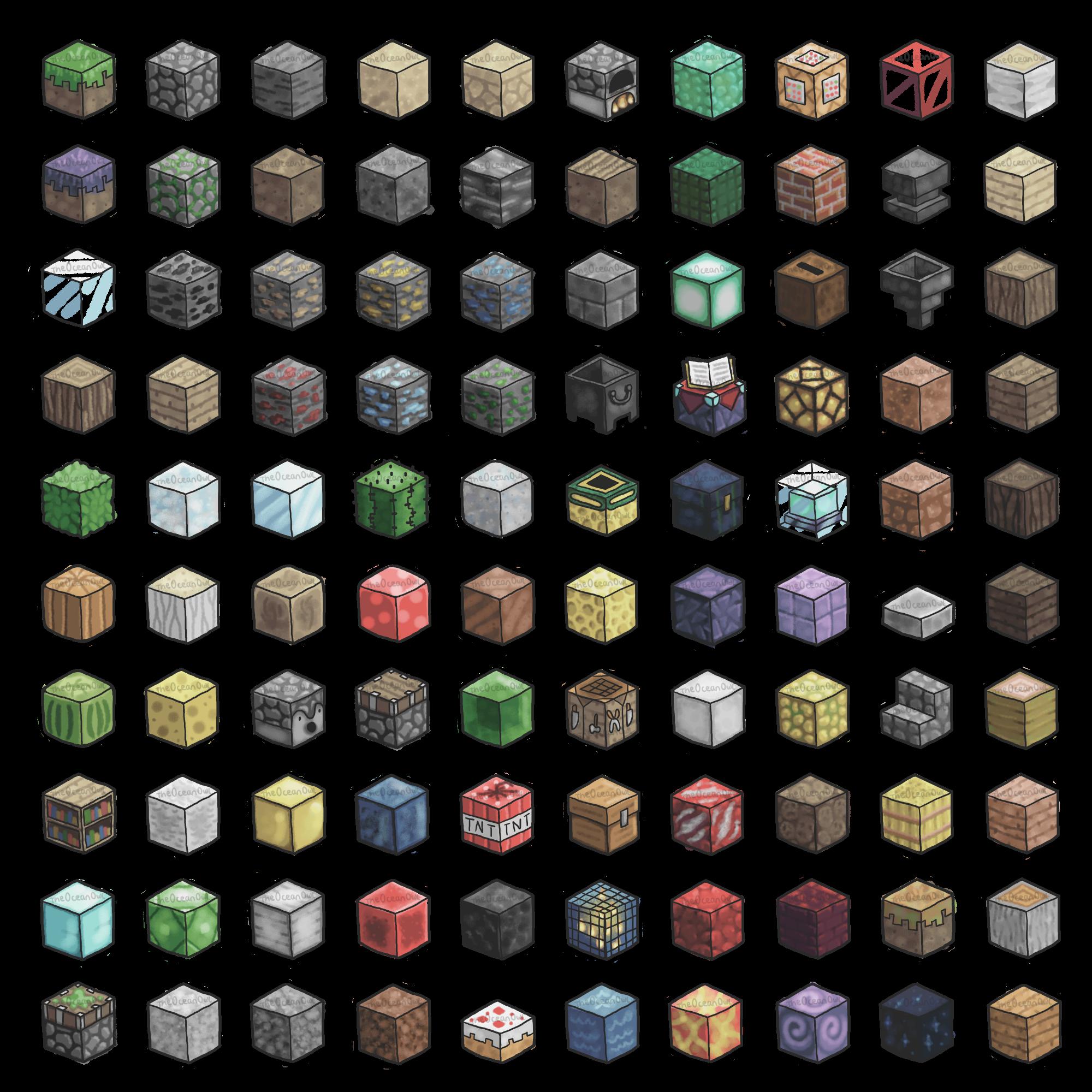 100 Minecraft Blocks Minecraft Blocks Minecraft Posters Pixel Art Tutorial