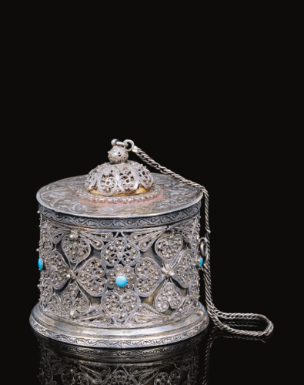 A silver-filigree and turquoise mounted inkwell, Turkey, 16th/17th century