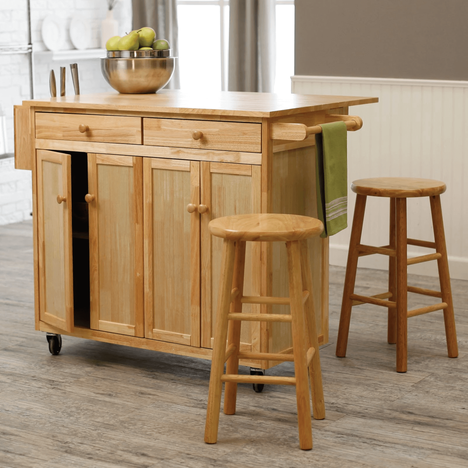 Natural wooden Kitchen Island Cart with Stools | Kitchen | Pinterest