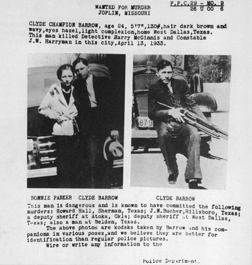 A Wanted Poster For Bonnie And Clyde Poster by Everett