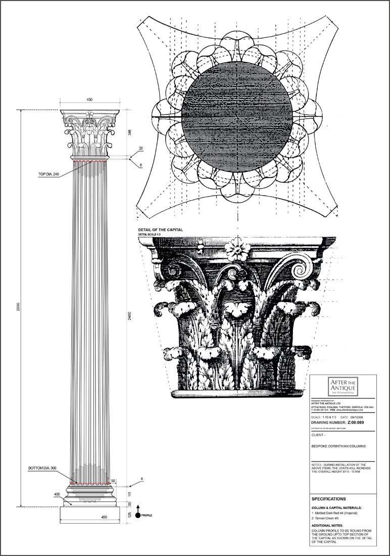 Egyptian Pillars Drawings