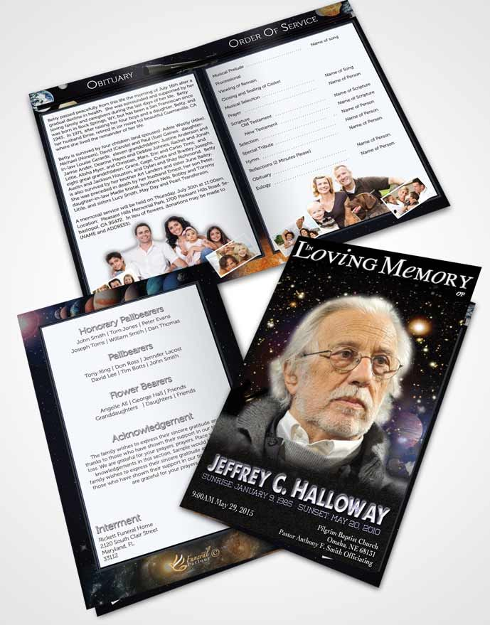 Bifold Order Of Service Obituary Template Brochure Starry Night