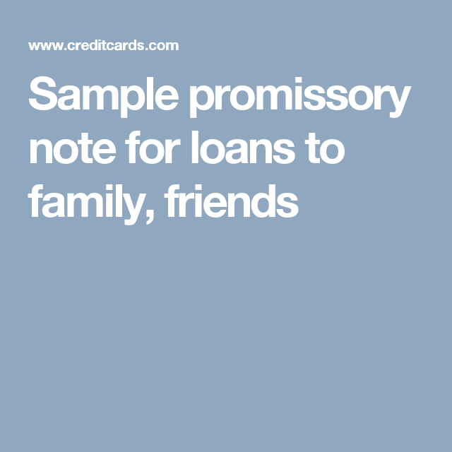 Sample Promissory Note For Loans To Family Friends  Promissory