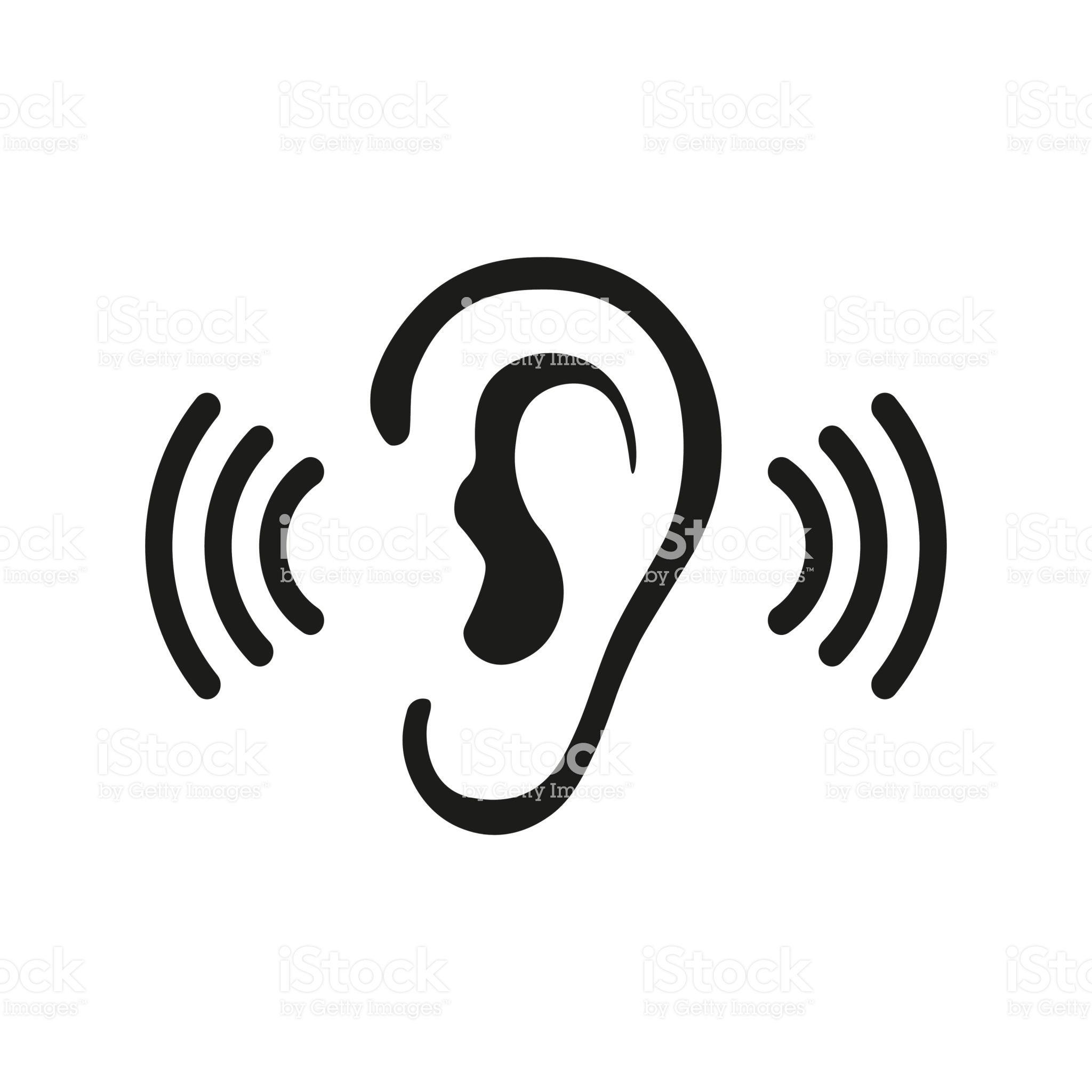 Ear listen vector icon on white background. Ear vector