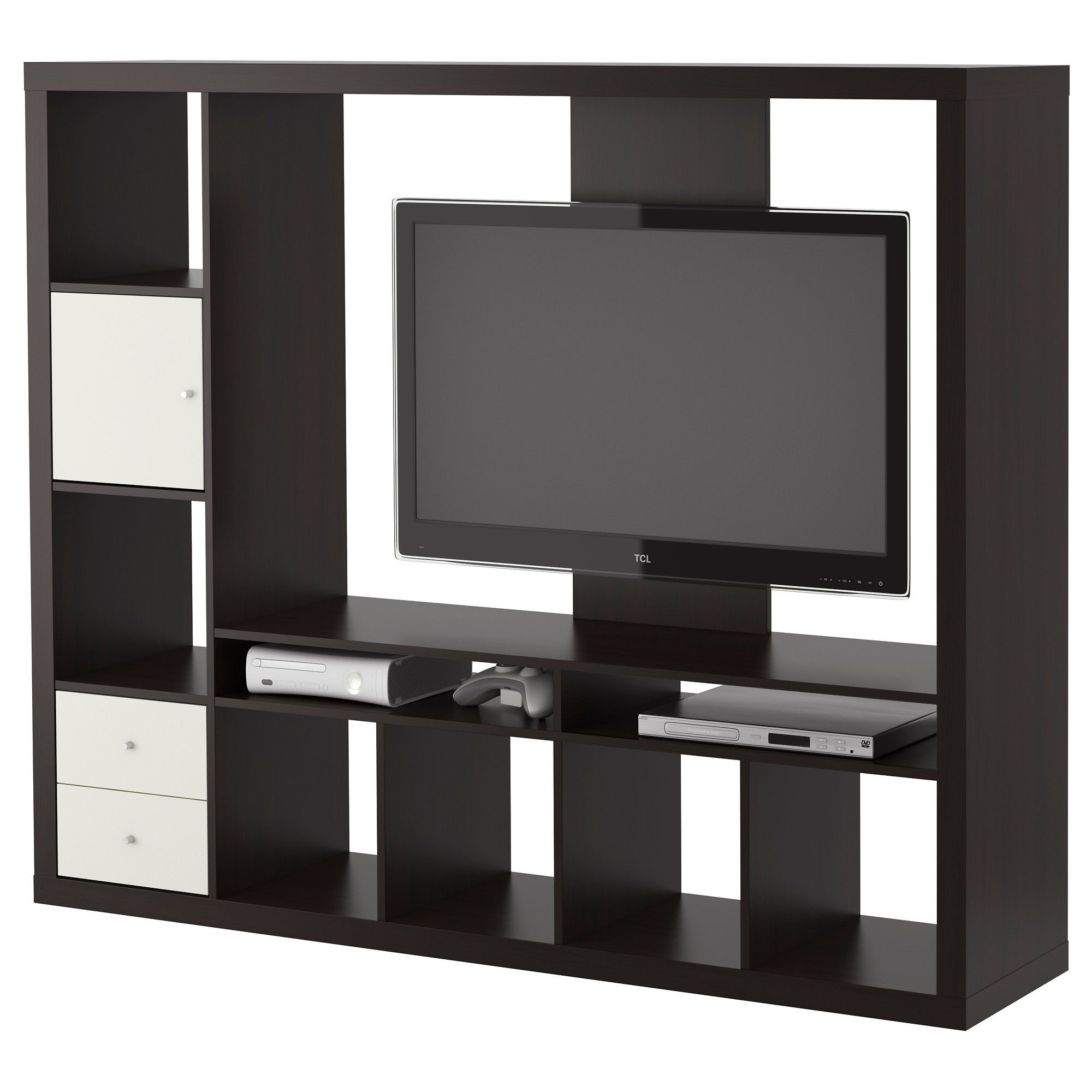 Black Polished Solid Wood Tv Cabinet With Several Open Shelves And