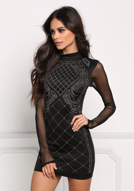 Junior Clothing Black Studded Mesh Sleeve Bodycon Dress Bodycon Dress With Sleeves Dresses Bodycon Dress [ 1500 x 1050 Pixel ]