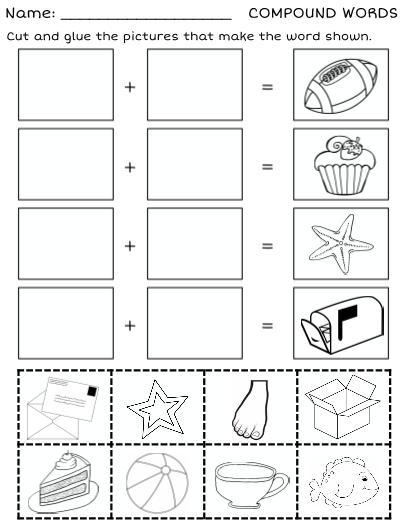 This Is A Worksheet For Learning Compound Words. Students Look At A  Picture, Say The Word, T… Compound Words Worksheets, Compound Words, Compound  Words Activities