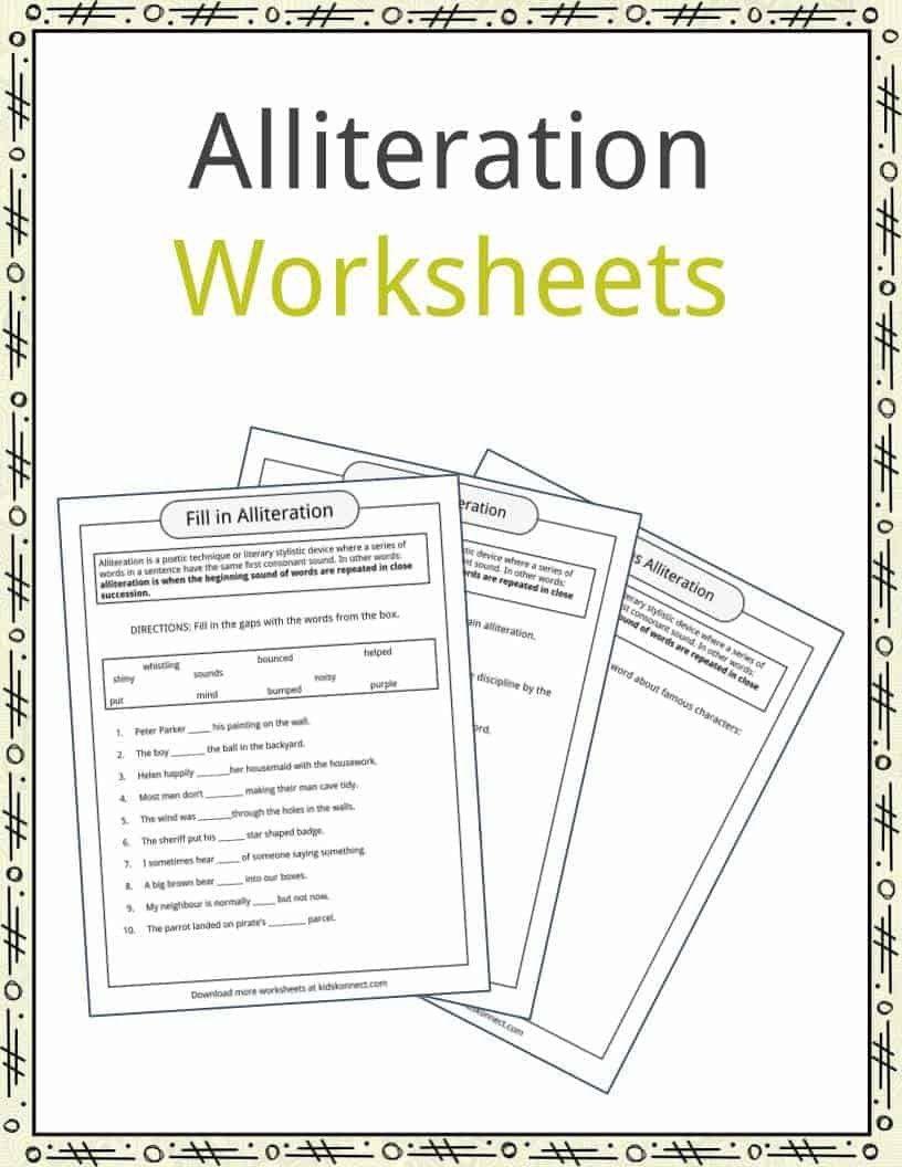 Alliteration Worksheets 4th Grade Alliteration Examples Definition Worksheets In 2020 Alliteration Examples Alliteration Poetry Worksheets