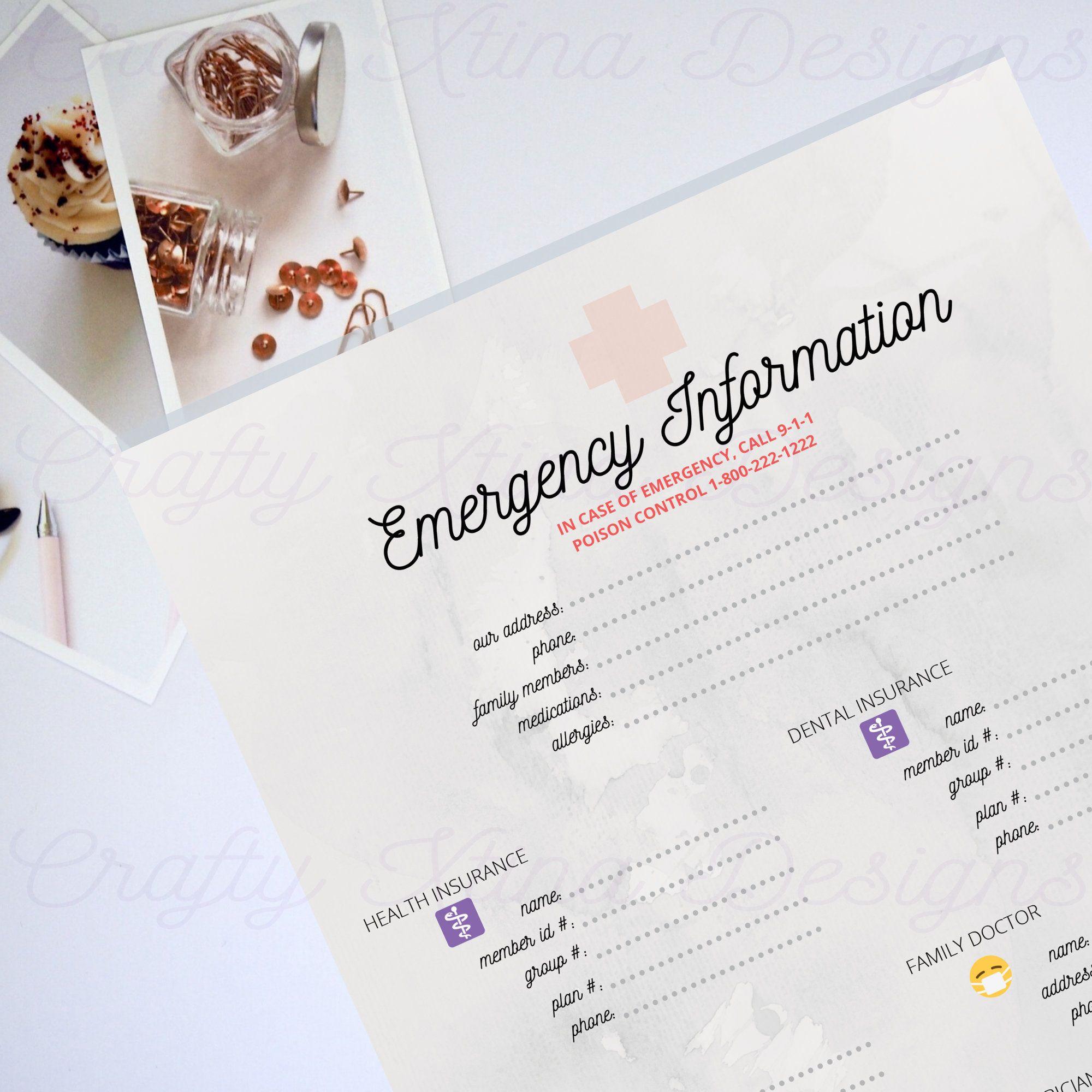 Emergency information sheet family binder printable
