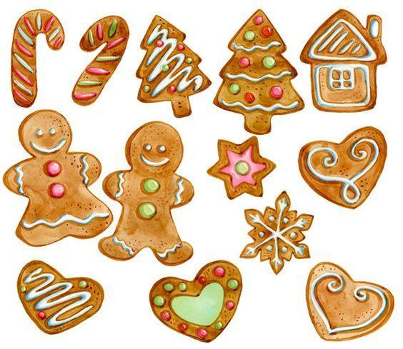 Gingerbread Cookies Clipart Christmas by SwiejkoForPrint ...