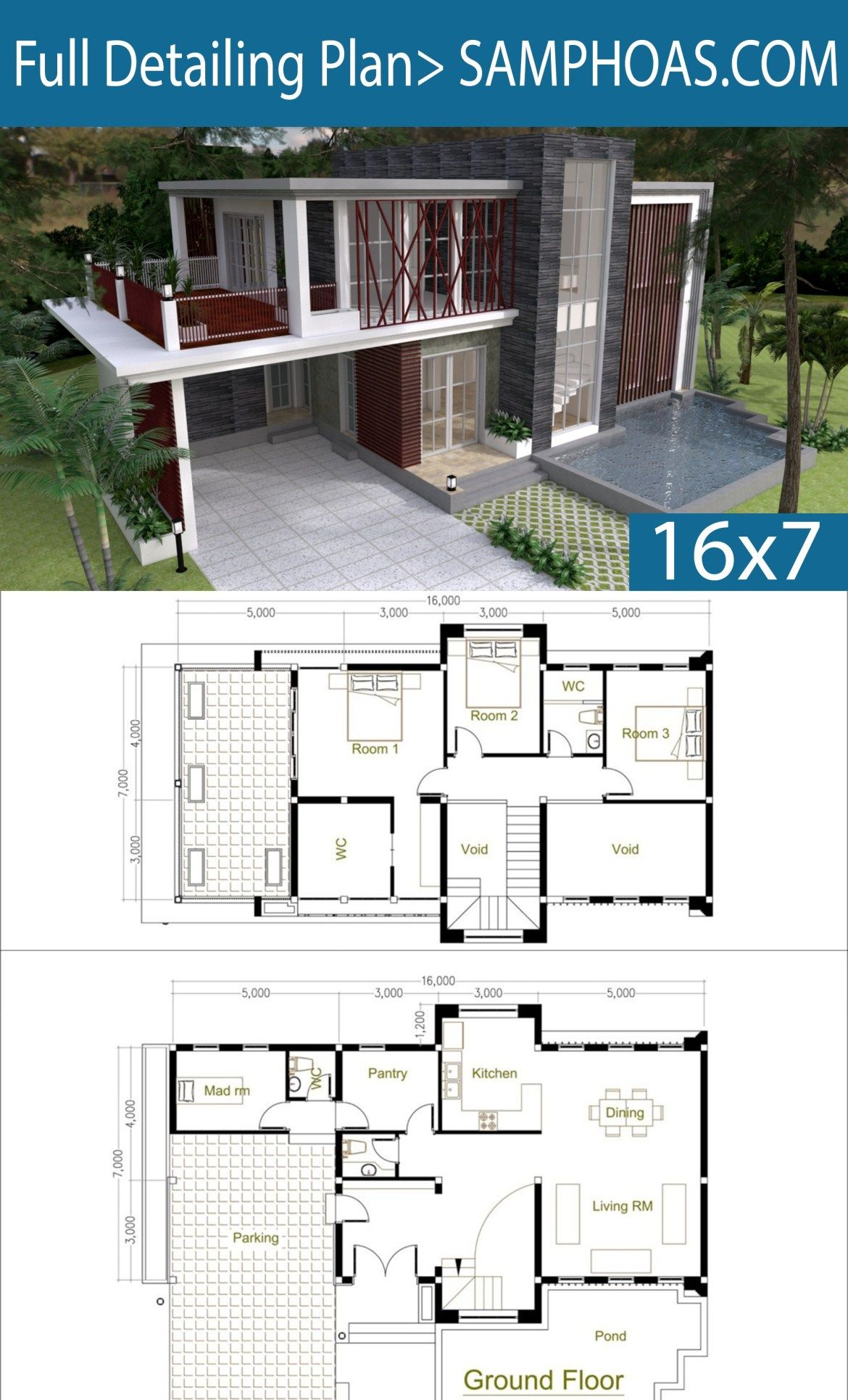 3 bedrooms modern home plan 7x16m home design with - Bamboo house design and floor plan ...