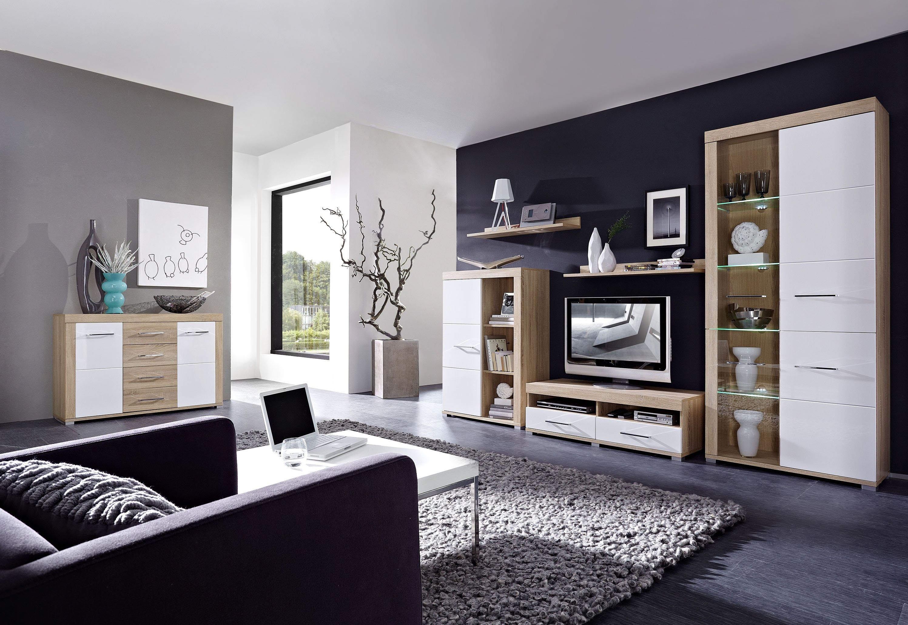 Moderne Wohnwand Inklusive Sideboard Sonoma Eiche Hell / Weiss Hochglanz  Inklusive Led Beleuchtung Woody 22