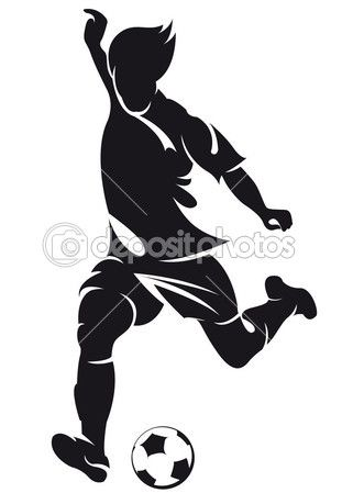 Jugador de fútbol (soccer) vector ejecutando silueta con bola ...