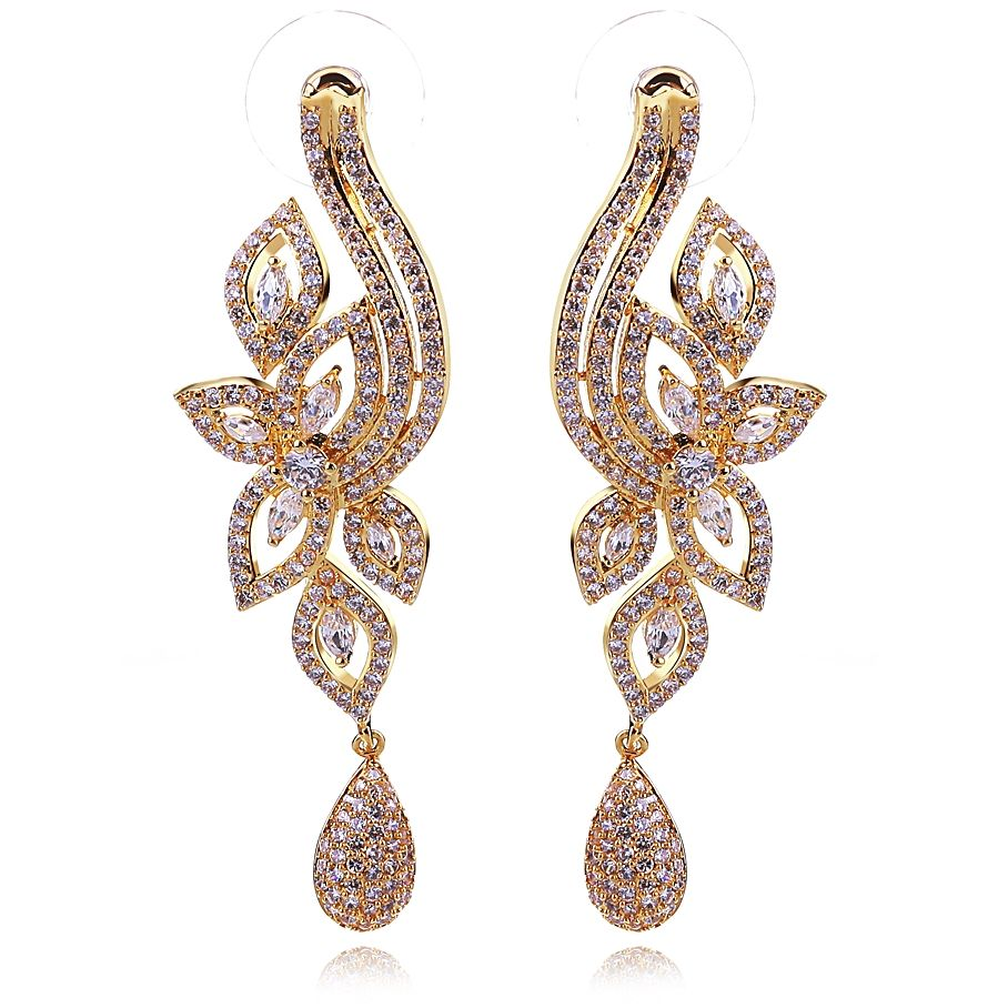 Long Square cz earrings Crystal dangle earrings Bridal