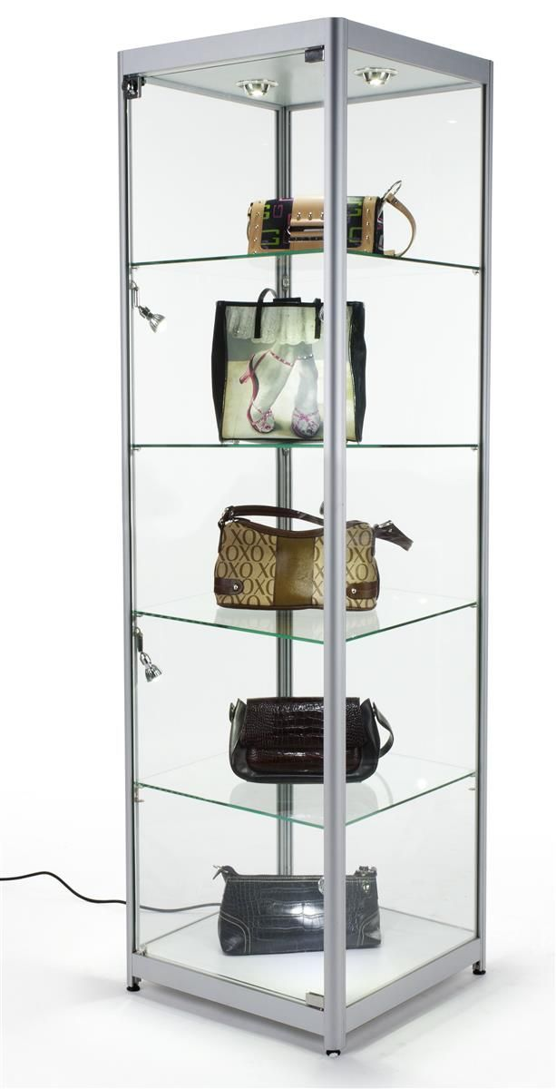 20 Glass Display Case W Halogen Lighting Fixed Shelves Hinged