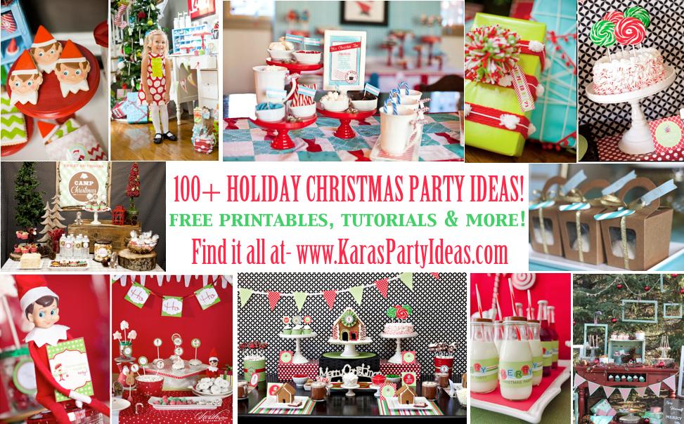 100 + Christmas Party Ideas! Free printables, tutorials & more! Via www.KarasPartyIdeas.com