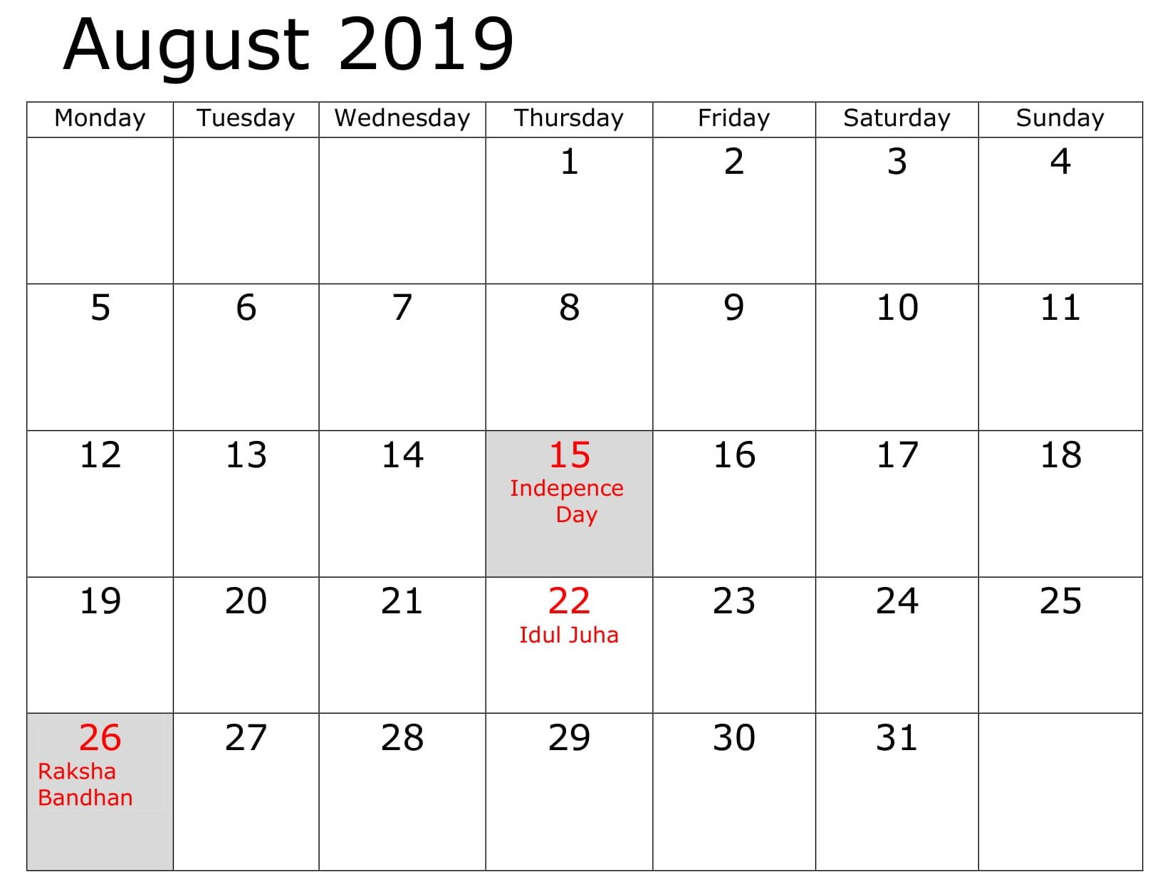 August 2019 Calendar With Holidays.August Business 2019 Calendar With Holidays Calendar August 2019