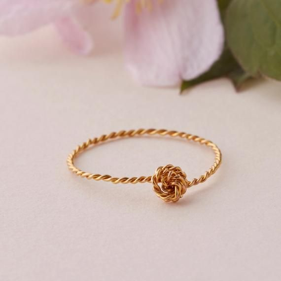 Thin Stacking Ring, Gold & Silver | Twisted Rope Knot ring | Skinny ring band | Knuckle ring Pinky r #ropeknots