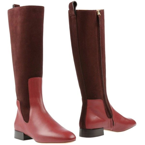 Chloé Boots (55.180 RUB) ❤ liked on Polyvore featuring shoes, boots, maroon, leather boots, real leather boots, leather sole boots, leather zipper boots and leather zip boots
