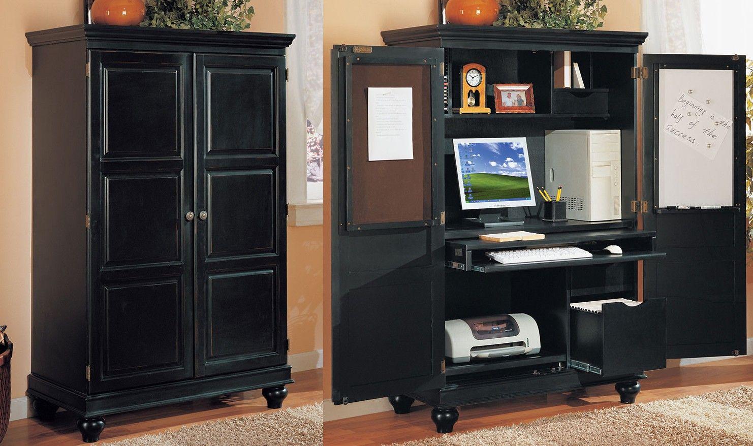 Computer Armoire Black Armiore