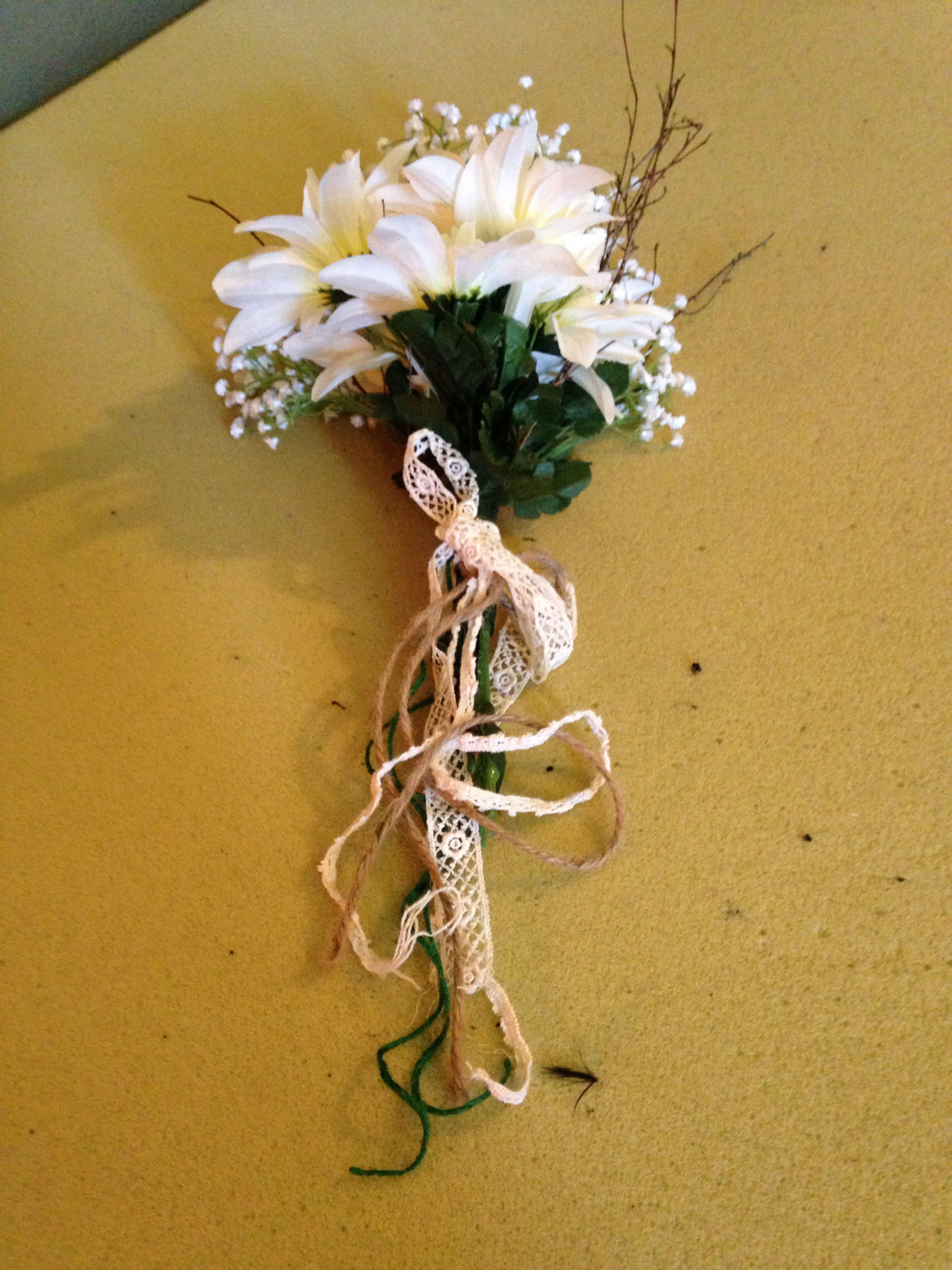 Natural Looking Silk Floral Boquet Wrapped In Twine Lace Sticks