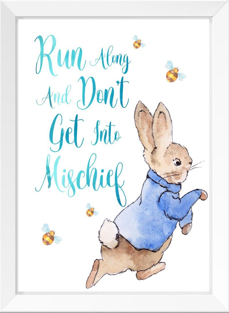 Personalised Peter Rabbit Set of 3 Baby Nursery Print Wall Art Bedroom Poster