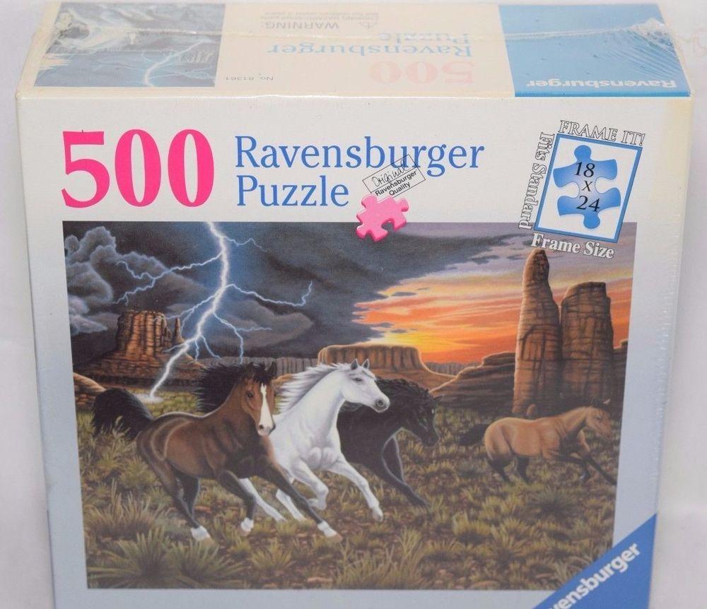 Ravensburger 500 Piece Jigsaw Puzzle Thunder Run Horses Grand Canyon ...