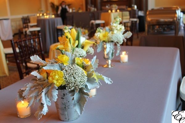 Yellow And Grey Wedding Yellow Floral Centerpiece In Mercury Glass