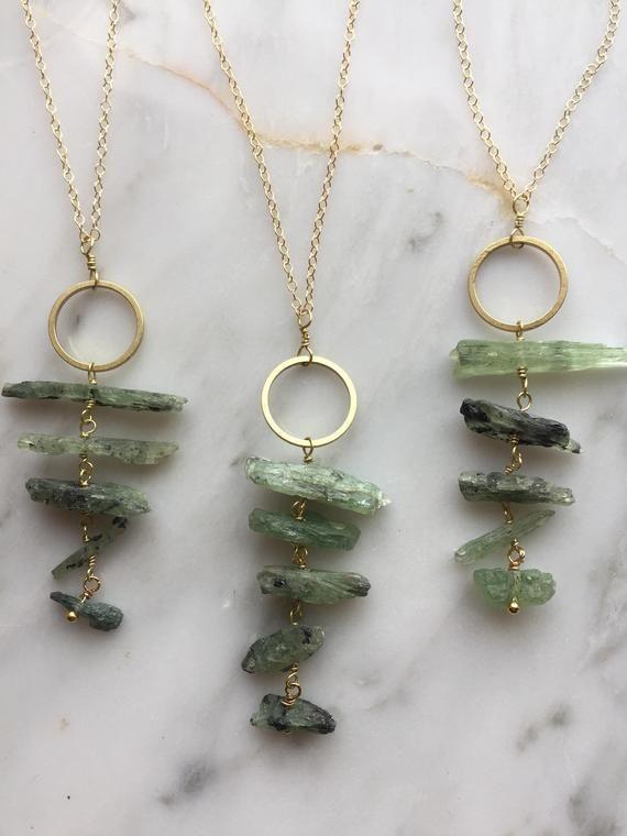 Photo of Raw Kyanite Necklace, Green Kyanite pendant, Raw Crystal Necklace, Raw Gemstone Necklace, Raw Stone Necklace, Kyanite jewelry, Boho Necklace