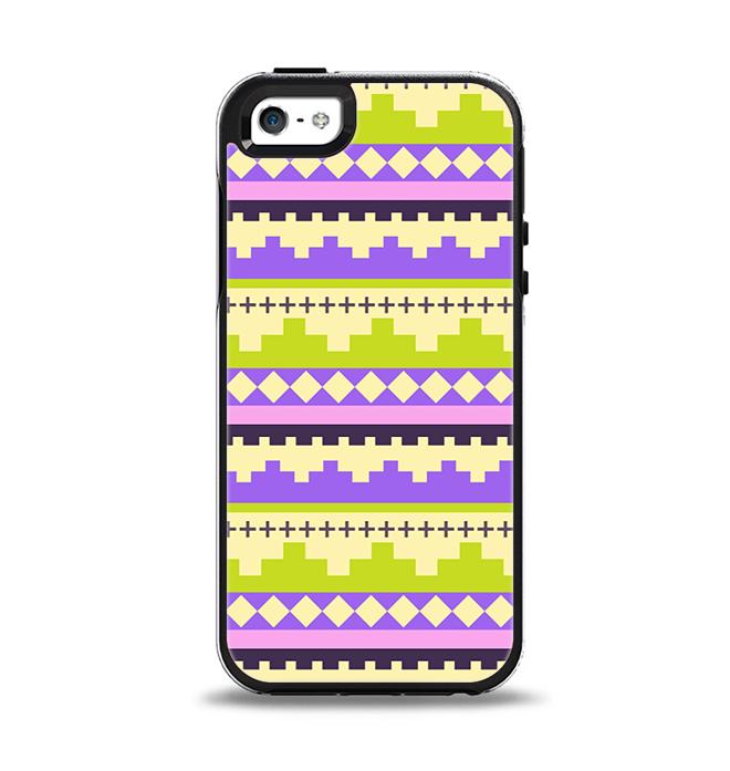 The Purple & Green Tribal Ethic Geometric Pattern Apple iPhone 5-5s Otterbox Symmetry Case Skin Set