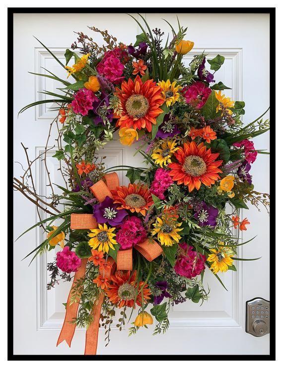 Large Summer Wreath For Front Door Wreath, Spring Summer Wreath For Door, Sunflower Wreath, Vibrant#door #front #large #spring #summer #sunflower #vibrant #wreath