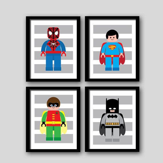 INSTANT DOWNLOAD Super Hero Clipart Modern Wall Art Digital Files 8x10 Inch  (set Of 4