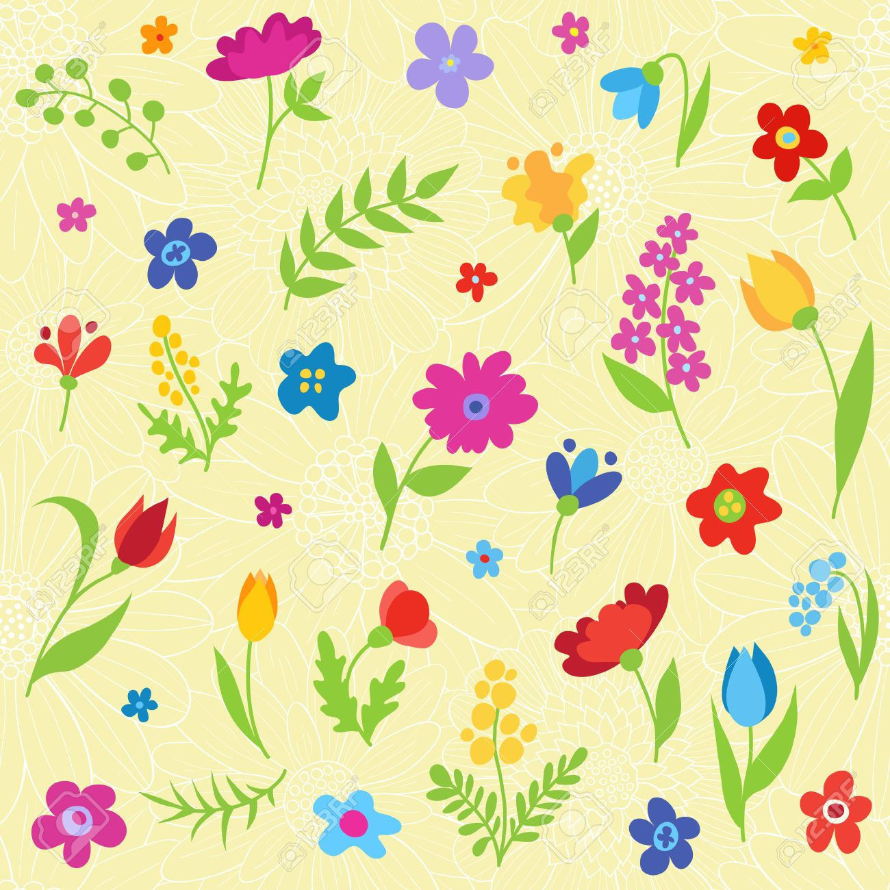 27886585 Beautiful Seamless Pattern With Spring Flowers Vector