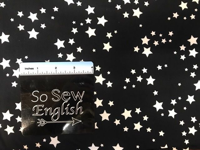 2503829eb03 LITTLE BLACK STARS- Double Brushed Poly Spandex - By The Yard - So Sew  English Fabrics