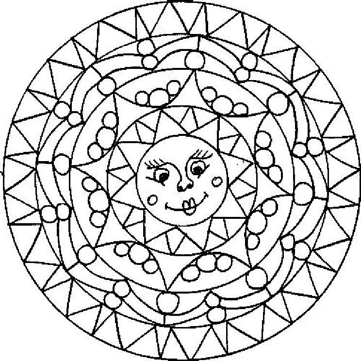 zomerse mandela Kleurplaten, Mandala kleurplaten, Zomer