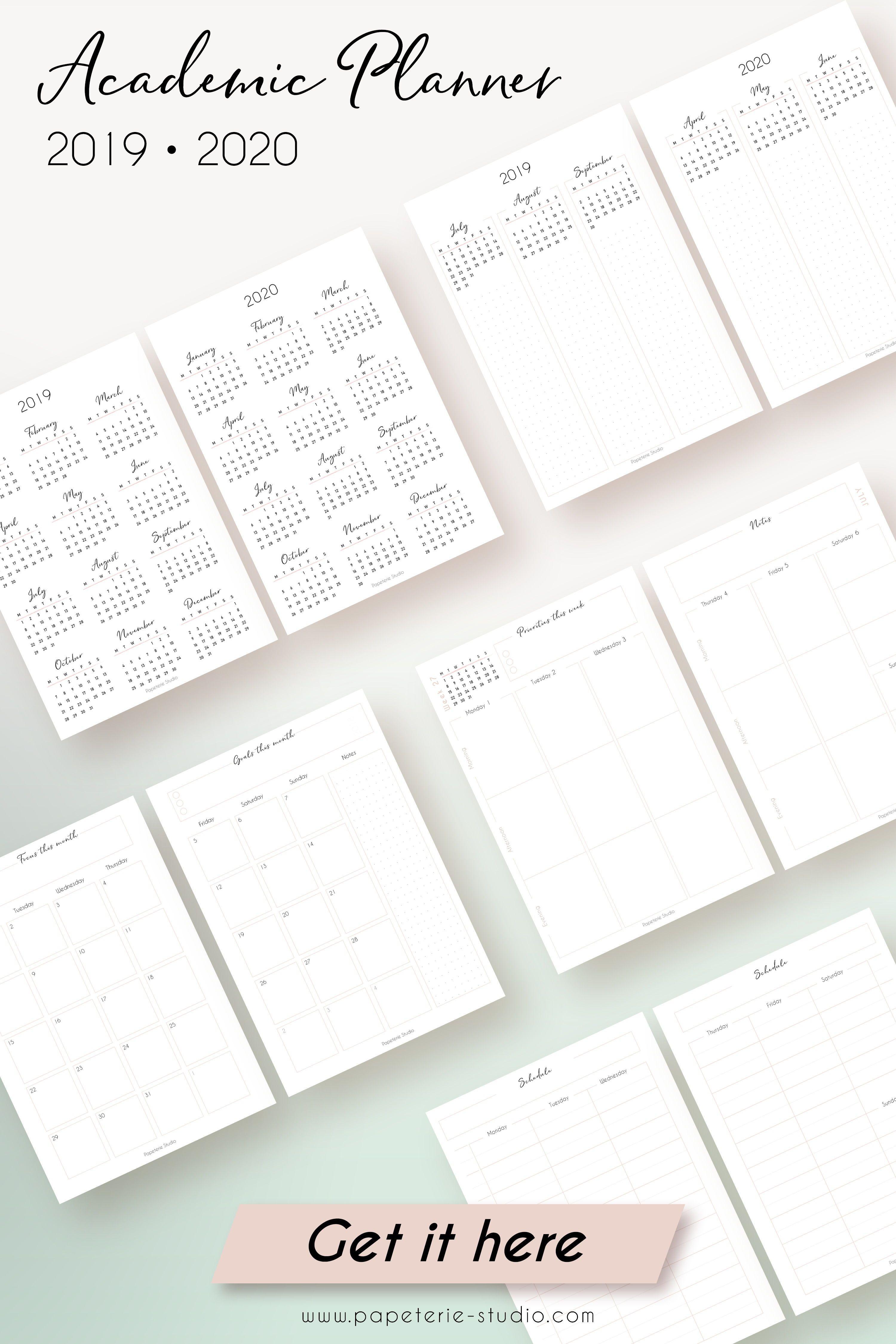 Printable Academic Planner 2019 2020 By Papeteriestudio College