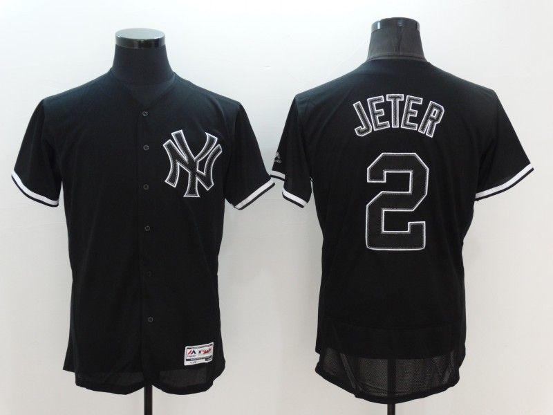 2016 MLB FLEXBASE New York Yankees 2 Derek Jeter black Jersey 26a678c2289