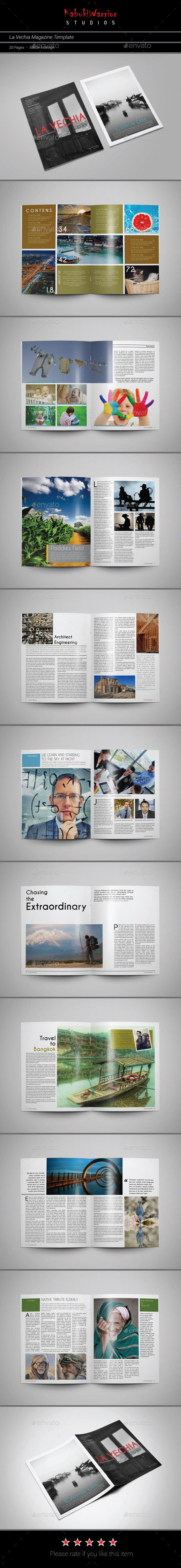 La Vechia Magazine Template | Template, Print templates and Font logo