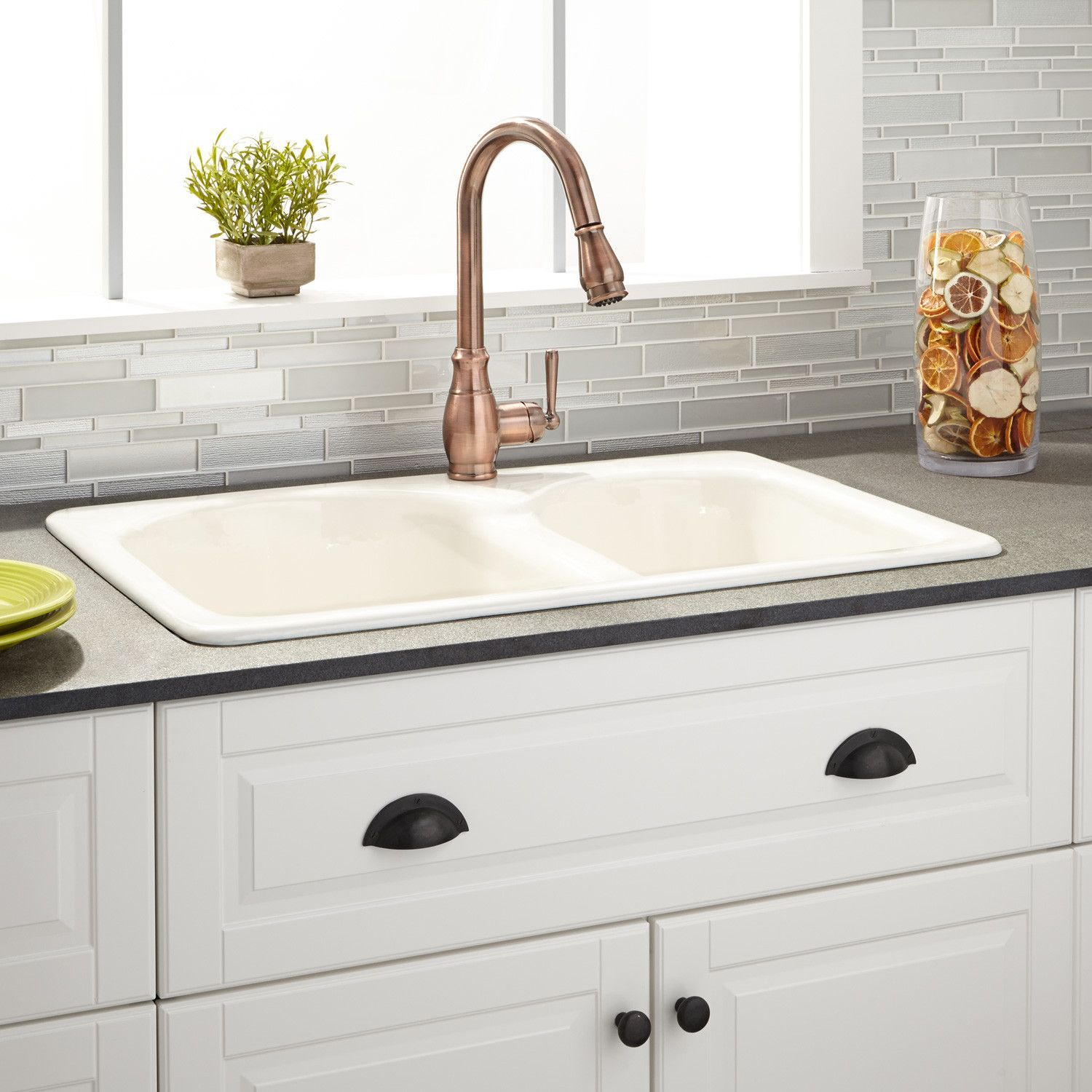 33 Cayton 70 30 Offset Double Bowl Cast Iron Drop In Kitchen Sink White Drop In Kitchen Sink Cast Iron Kitchen Sinks Sink