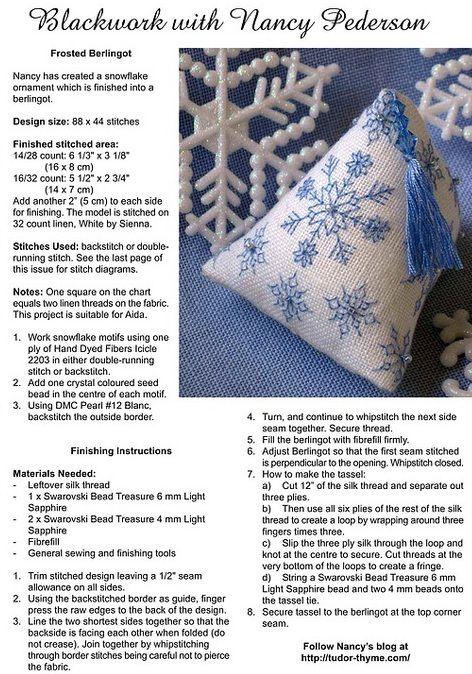 snow humbug | biscornu | Pinterest | Hardanger, Punto de cruz y Puntos