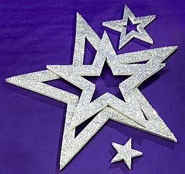 Silver Shimmering Star Assortment, Silver Shimmering Stars