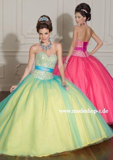 quinceanera event mode ballkleid brautkleid rimini blau grün rosa, Hause ideen