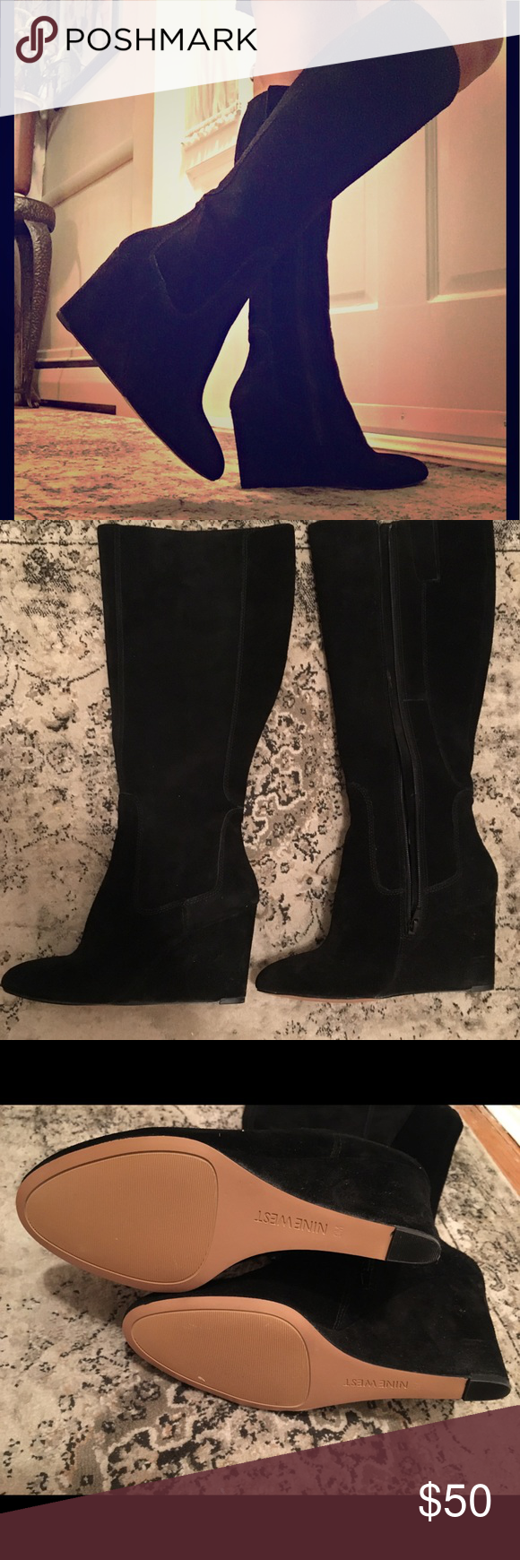 Nine West black long boots size 9M Classy black suede Nine West long boots leath  Nine West black long boots size 9M Classy black suede Nine West long boots leather upper...
